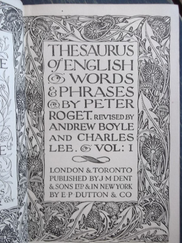 thesaurus of english words and phrases peter roget 1930