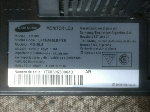 thin client all in one samsung tc190 display dañado