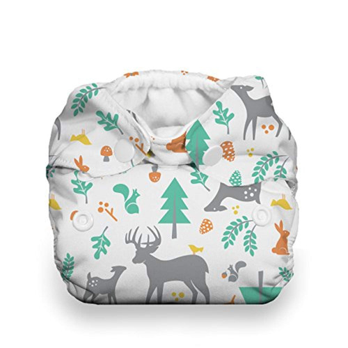thirsties snap natural newborn all in one, woodland