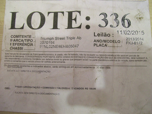 thiumph street 675 magneto placa partida