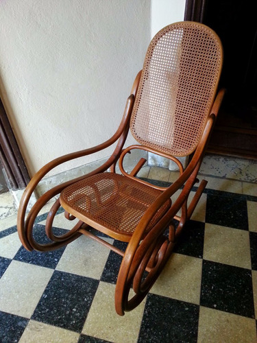 thonet mecedora silla movil estilo  fines s.xix esterillada
