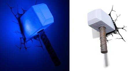 thor martillo lampara led 3d-aplique pared - senkitoys