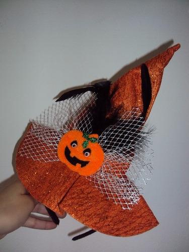 tiara chapéu de bruxa laranja glitter com abóbora halloween