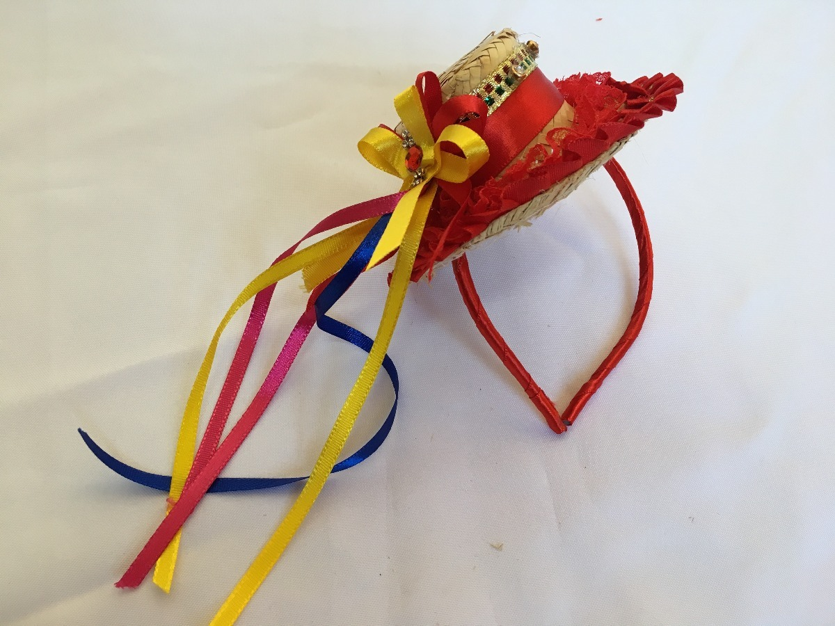 797f8815dbbfb tiara chapéu de palha para festa junina caipira laços. Carregando zoom.