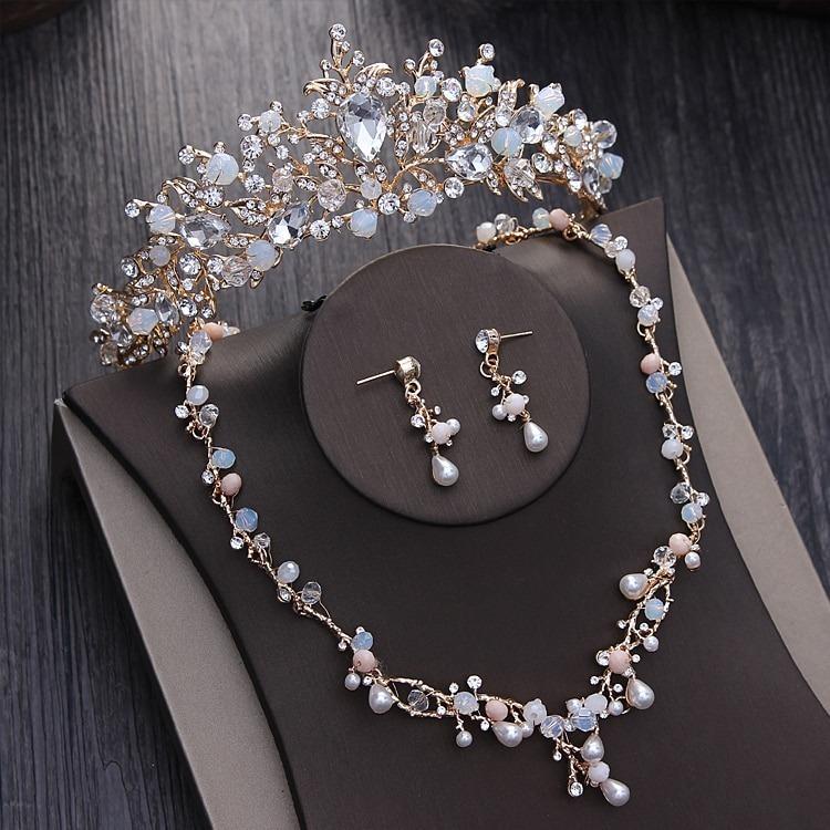 def54214c370 Tiara Collar Pendientes Conjunto De Joyas De Boda Accesorio - U S ...