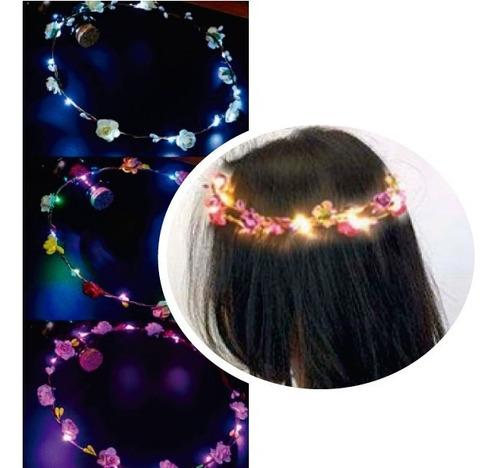 tiara coroa de flores de led pisca 5 unidades