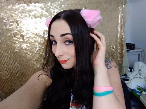 tiara de orelhas de gato neko - rosa