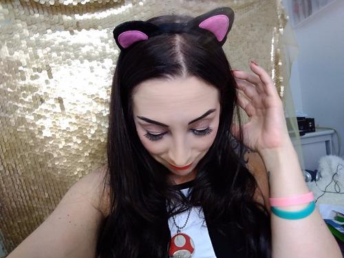 tiara de orelhas de gato neko - rosa e preto