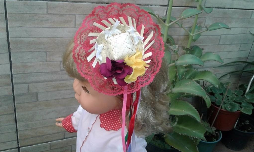 tiara enfeitada com fitas e mini chapéu de palha caipira. Carregando zoom. 86d9461c123