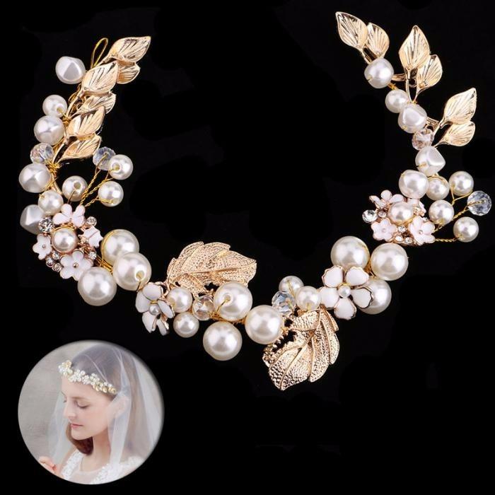 Enfeite De Tiara ~ Tiara Enfeite Cabelo Noiva Dourado Pérola E Flores Branco R$ 66,90 em Mercado Livre