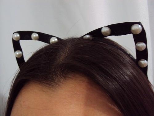 tiara gatinha gata orelhas vazadas cetim com pérolas