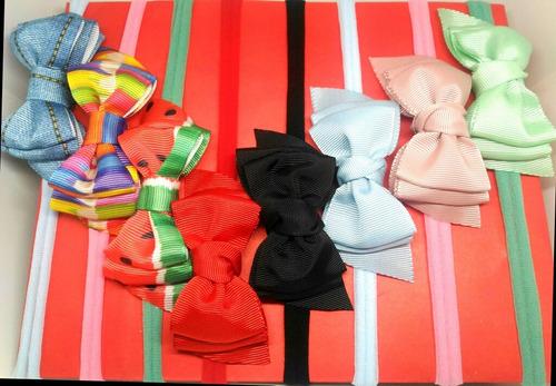 tiara infantil bebe, meia de seda e laço gorgurão(kit c/ 5)