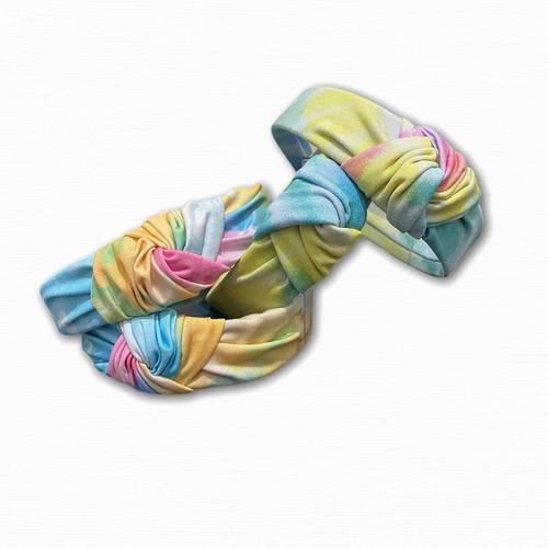 tiara nózinho turbante tie dye kit com 2 multicor blogueira