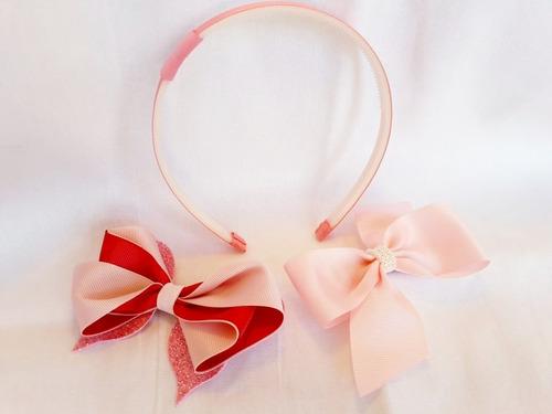 tiara reversível + 2 laços com bico de pato rosa