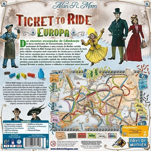 ticket to ride europa galapagos jogo de tabuleiro português