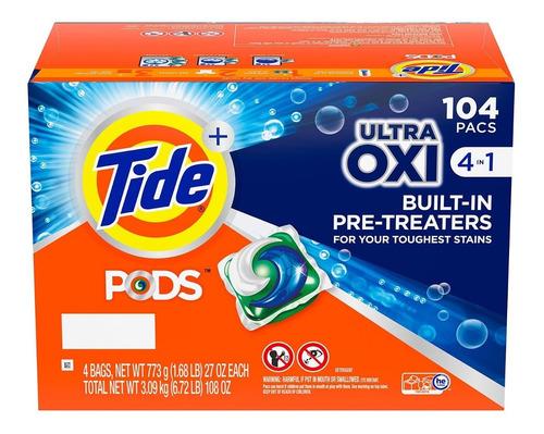 tide pods + ultra oxi, detergente líquido para ropa (104 un)