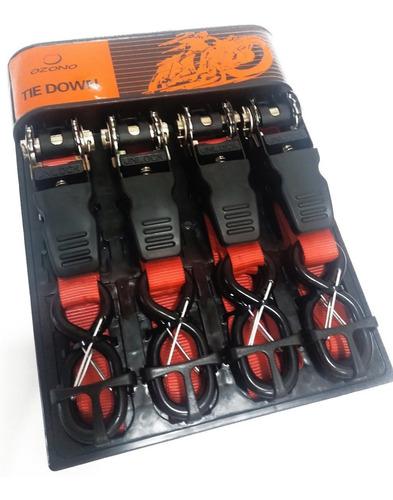 tie downs eslinga con tensor  pack de 4 amarras para motos