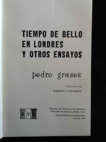 tiempo de andrés bello en londres - pedro grases - 1962