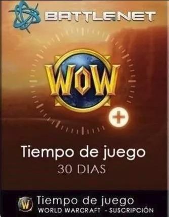tiempo de juego 30 días wow entrega inmediata