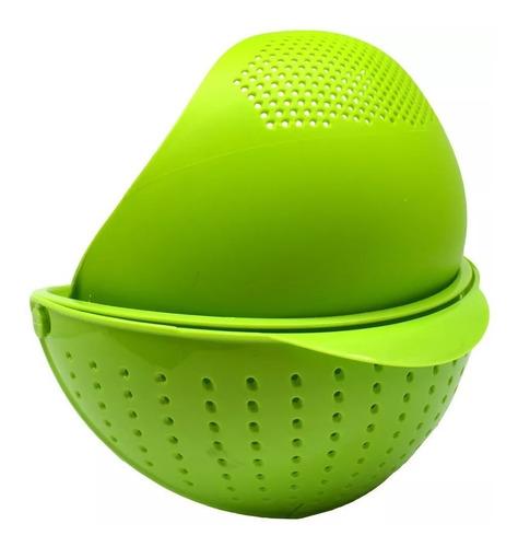 tigela com escorredor retrátil prana - verde