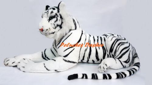 tigre de peluche 90cm blanco y marron