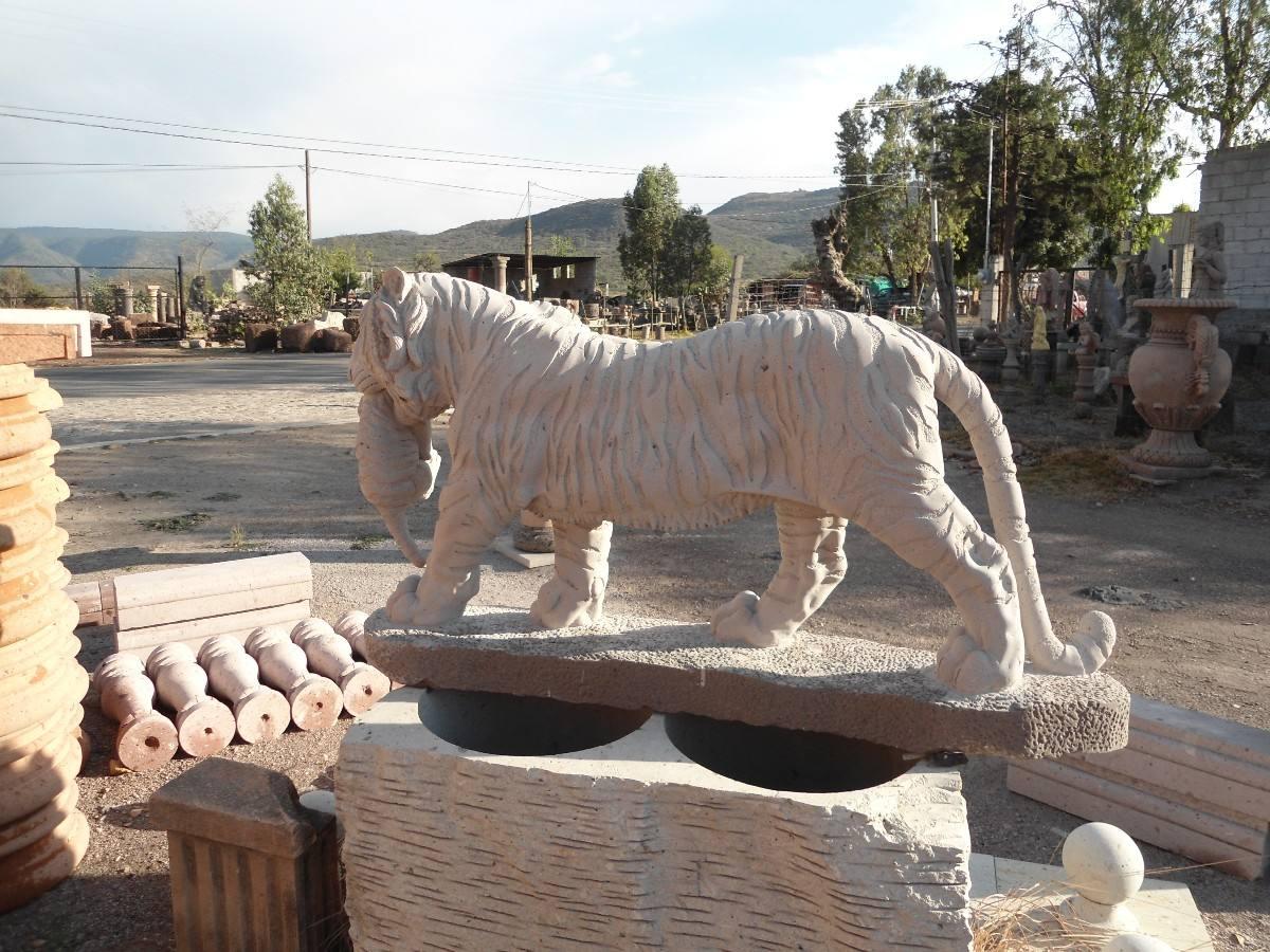 Tigre En Cantera Natural Labrado A Mano 18 En