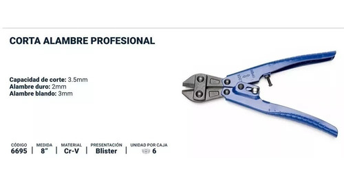 tijera alicate corta alambre 200 mm bremen 6695