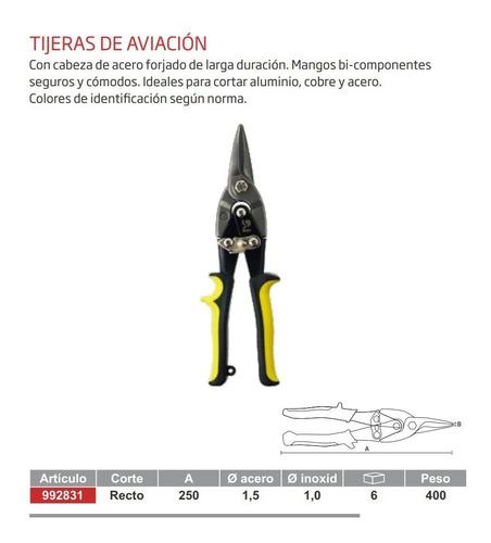 tijera corta chapa tipo aviacion 250mm 10'' recta biassoni