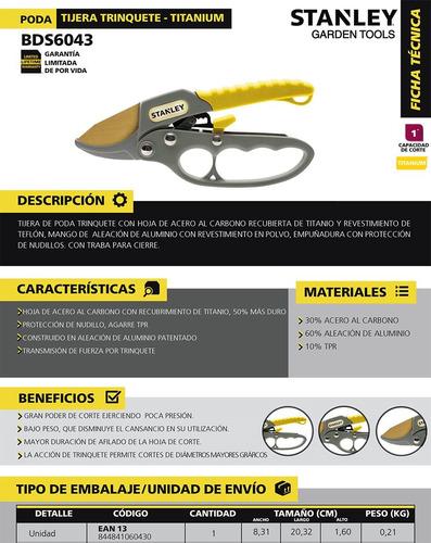 tijera de podar dos manos stanley + arco sierra + tijera