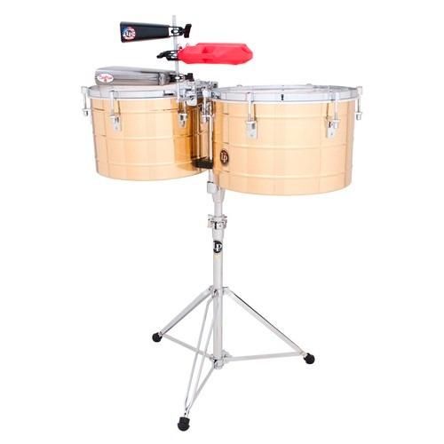 timbal latin percussion thunder 15 y 16 latón c/atril lp258b