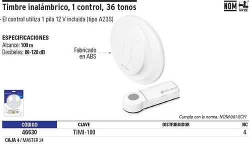 timbre inalambrico 1 control 36 tonos voltech 46630