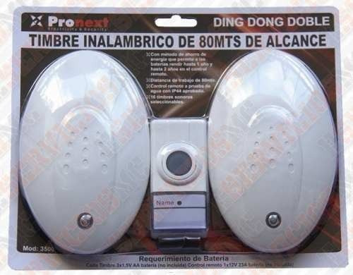 timbre inalambrico pronext 80mts ding-dong c/ doble receptor