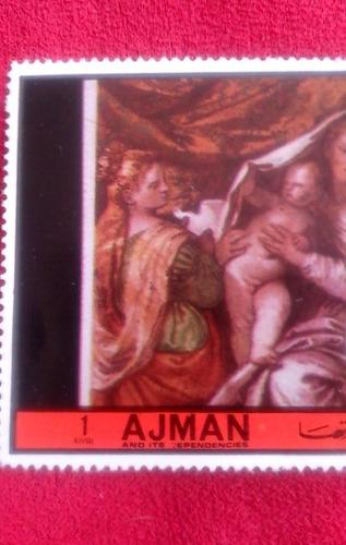 timbre postal de coleccion ajman emiratos arebes