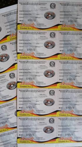 timbres fiscales estampillas estado miranda 20 ut