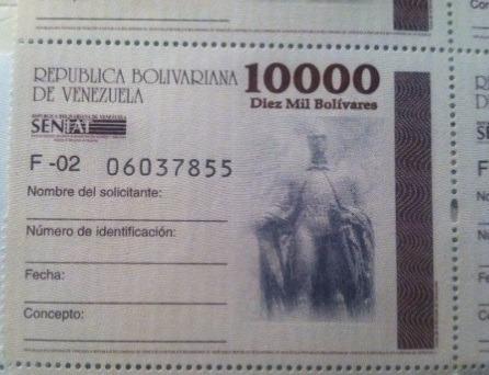 timbres fiscales nacionales de 10000