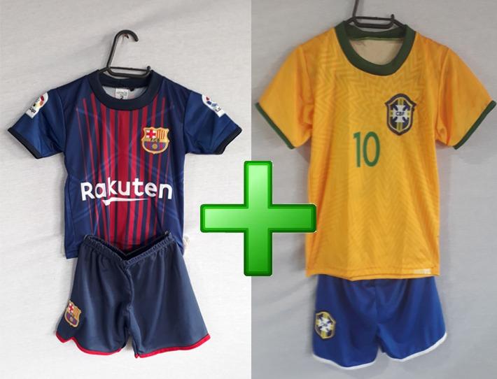 5de80d86ab Kit Infantil Time Ney Brasil E Barcelona Futebol - R  89