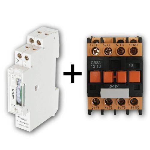 timer mecanico programable + contactor trifasico din reloj