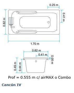 Tina cancun 4 c hidromasaje 170 x 82 x 50 5 hydromax Dimensiones de una banera