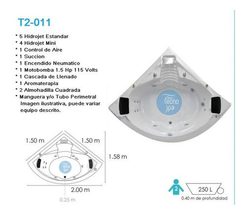 tina de hidromasaje t2-011 medida 1.50 x 1.50 x 0.40