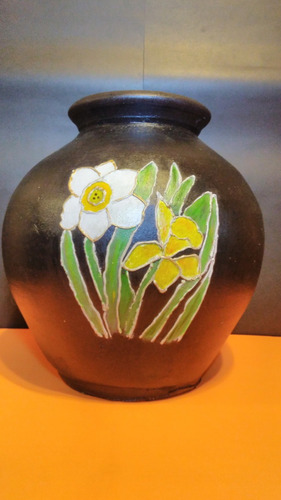 tinaja con flores 35cm