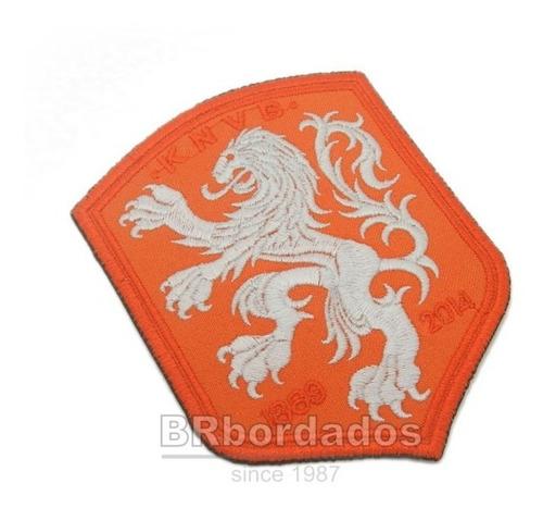 tinl025 seleção holanda copa 2014 tag patch bordado 8,7x11cm
