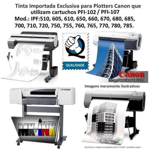 tinta 1litr mbk-pig. compativel plotter canon pfi102,107