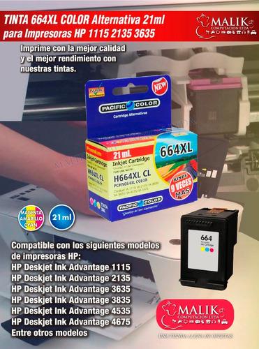 tinta 664 xl color 21 ml para 1115 2135 3635 alternativa