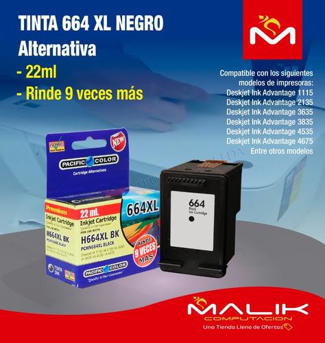 tinta 664xl negro 22ml impresora 1115 2135 3635 alternativa