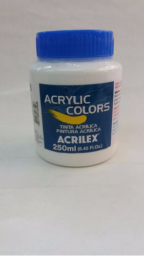 tinta acrílica para tela 250ml branco de titânio acrilex