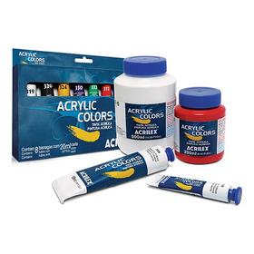 Tinta Acrylic Colors Acrílica Tela Acrilex 20ml Kit C/ 26un