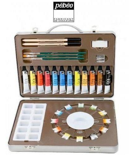 tinta aquarela pébéo estojo artista atelier set 300610
