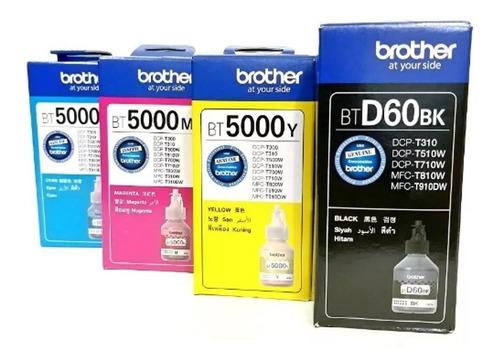 tinta brother btd60 negro + bt5001 color original pack 4u