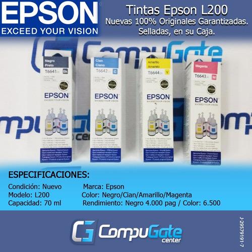 tinta epson original l200 l210 l110 l350 l355 l375 l575 l120
