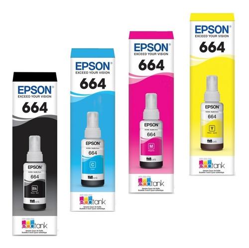 tinta epson t664 negro ecotank l310 l380 l395 l495 l575 1300